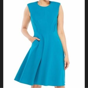 Maggy London teal fit and flare midi dress